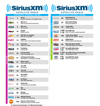 SiriusXM Custom Channel Guide PDF
