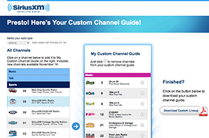 SiriusXM Custom Channel Guide